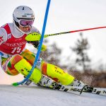 epa07174786 Albert Popov of Bulgaria clears a gate during the first run of the Men's Slalom race at the FIS Alpine Skiing World Cup in Levi, Finland, 18 November 2018.  EPA/KIMMO BRANDT
